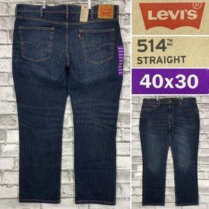 NWT Levi's 514 Straight Stretch 40 x 30 Mens Dark Wash Regular Fit Denim Jeans